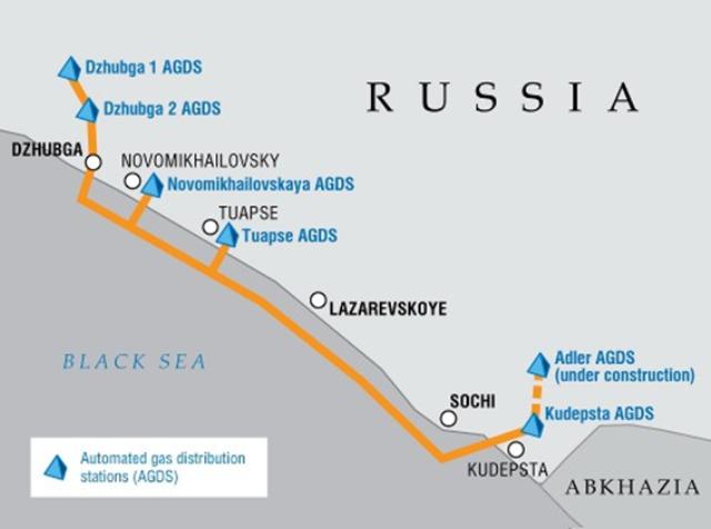 「ジュブガ―ラザレフスキー―ソチ」ガスパイプライン (出典 ガスプロムHP http://www.gazprom.com/production/projects/pipelines/dls/)