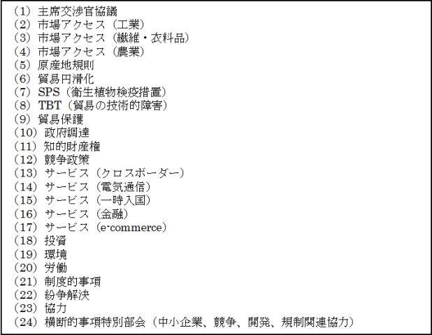 図表3 TPP交渉で設置されている作業部会